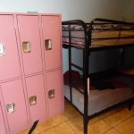 lockers next to bunk beds