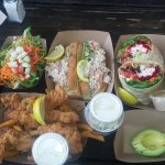Lobster Roll, Chicken Basket, and Shrimp Wrap. Hush Puppies were awesome