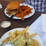 trip tip sandwich with sweet potatoes and garlic fries