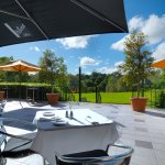 Outdoor dining option in courtyard - looking over O'Connell Reserve (weather permitting)