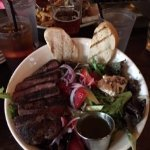 Very tasty balsamic greens salad with steaksalad