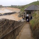 Fistral Beach stairs across the road from hotel - only good at low tide