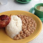 Roasted dark meat chicken, rice, pinto beans and aguadito soup.