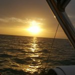 Beautiful sunset view from the yacht