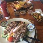3 meat salad, fried okra & brisket platter