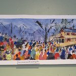 Watercolor of Mr G's and customers lining up for ice cream