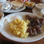 Peppersteak and eggs breakfast with all the fixins