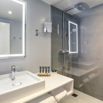 Executive bathroom. The aromatherapy kit  diffuses essential oils into the water as you shower.