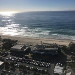 taken from balcony which streches across entire front of appartment, show Kurrawa surf club & be