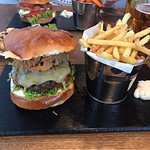 Yanky burger & Halloumi stack in the background