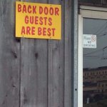 Sign at the back door
