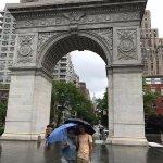 In Washington Square with my son! Fun, fun, fun!
