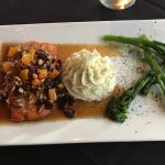 Wild Salmon Fileet with Butternut Squash, Pecans and maple Glaze.