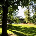 The bridge overlooks the park