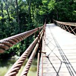 A swing bridge takes you across the river to the main hiking trail.