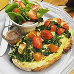 Scramble eggs with Spinich on toast