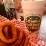 Onion rings and strawberry milkshake