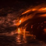 Lava at night entering the ocean!