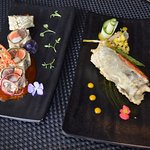 """Kamchatka crab claws meat in tempura roll and """"fish symphony"""""""