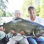 My mom with her biggest catch!  39.5 lb middle Rogue king salmon.