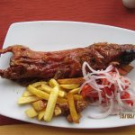 Guinea pig; it is juicy and is eaten not with fork, but with fingers. A must to eat at Cusco