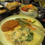 Chicken Marsala Toscana with fresh-baked bread & honey butter!