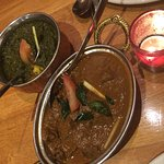 lamb curry and saag paneer