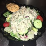 Garden Salad topped with Crab Salad