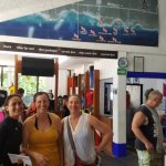 Gina (left) with my sisters in the dive shop. One sister with 100+ dives, one total newbie.