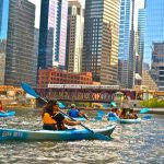 Wateriders Kayak tour paddling through Wolf Point in Chicago, IL