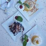 Lemon Sorbet, Caramelized Panna-cotta & Chocolate Souffle'
