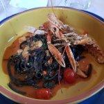 black pasta with langoustine