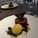 dark chocolate truffle mousse infused with orange essence and a tangerine sorbet