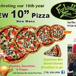 "We are now serving a 10"" Pizza, come in and celebrate our 10th Anniversary!"