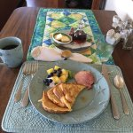 First morning breakfast - yummy french toast and ham
