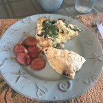 Chicken sausage, fritatta and homemade scone