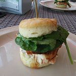buffalo chicken biscuit with ricotta and spinich
