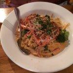 Cajon pasta with salmon (one salmon piece already cut up) -good