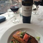 Great wine, good company, and fantastic Salmon dinner