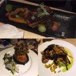 Sous Vide Pork Belly, Teriyaki Salmon, Hachyo Miso Lamb. Wonderful flavours