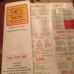 Taco fixings array from the Taco Mama menu.