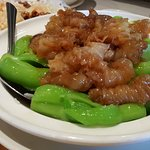 Fish blubber with bok choy