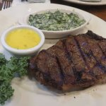 10 oz. Ribeye Steak with creamed spinach and Bearnaise Sauce