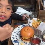 Excellent kids beef burger & fries. Superb. Lamb ribs. Huge portion. Good to share. Best view. S