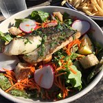 Pan-seared cod over salad.. I think that I'd choose it over pasta, next time