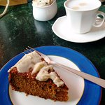 The spiced carrot cake, with a cappuccino