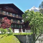 Hotel south side with balcony and beautiful Eiger view