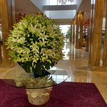 The beautiful fresh flower display in the foyer