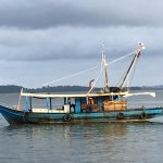Fishing boats pass close to the hotel