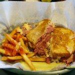 Reuben Sandwich with fries - Duffy's Tavern, Utica IL